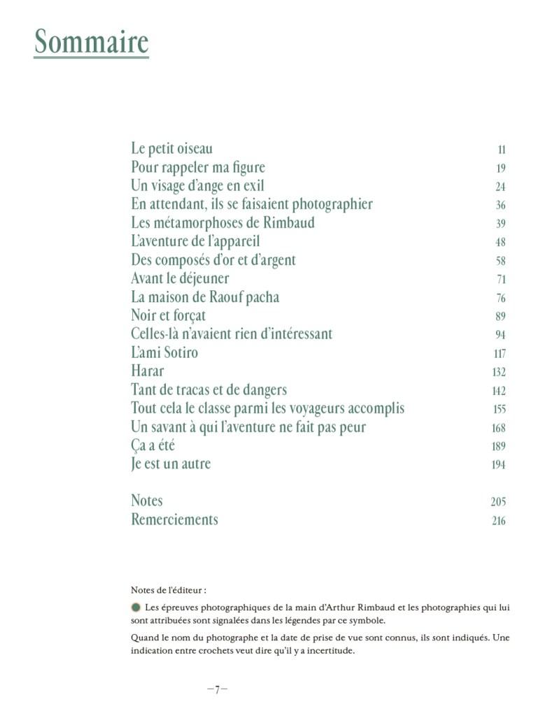 """Sommaire """"Arthur Rimbaud photographe"""""""