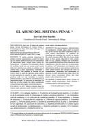 "Díez-Ripollés, J.L. (2017). ""El abuso del sistema penal"".  Revista Electrónica de Ciencia Penal y Criminología. RECPC 19-01 (2017). http://criminet.ugr.es/recpc/19/recpc19-01.pdf"