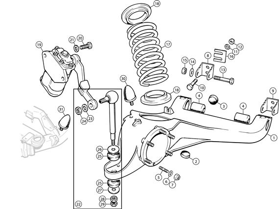 Triumph TR6 Trailing Arm, Coil Springs and Lever Type