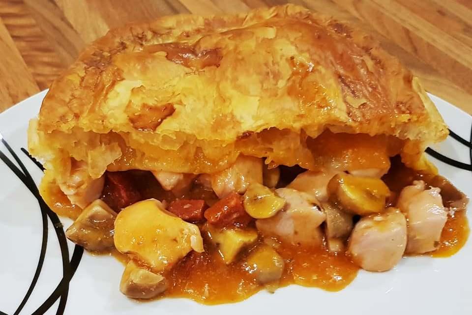 Chicken, Chorizo & Mushroom Pie