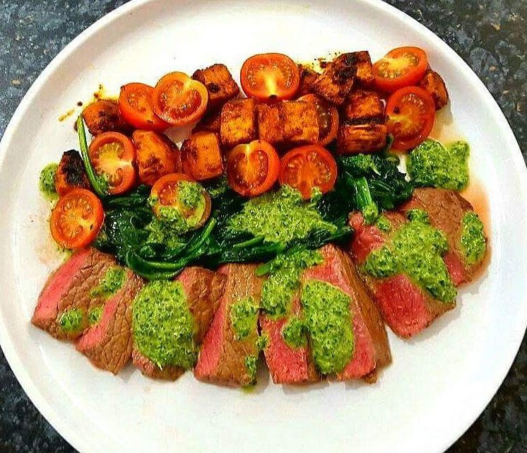 Sirloin Steak with Salsa Verde and a Spicy Sweet Potato & Tomato Salad