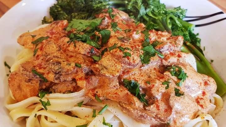 Mushroom Stroganoff with Tagliatelle and Broccoli