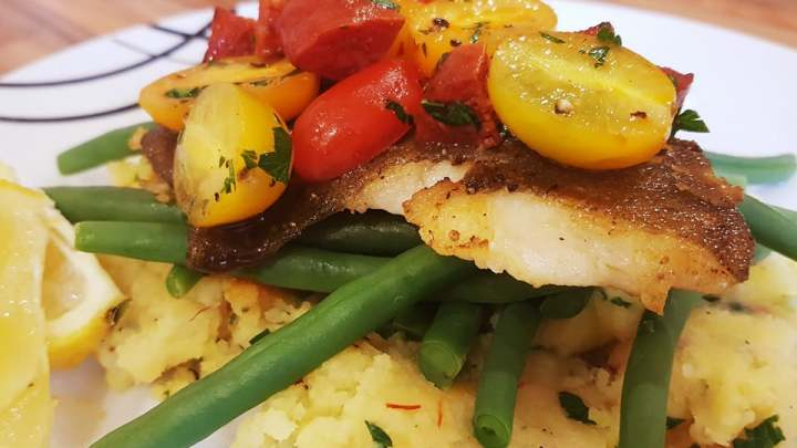 Pan-Fried Plaice with Saffron Mash, Chorizo Salsa and Green Beans