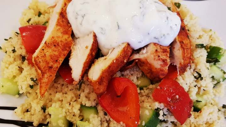 Portuguese Style Chicken with Roasted Red Pepper, Couscous and Mint Yogurt Dip