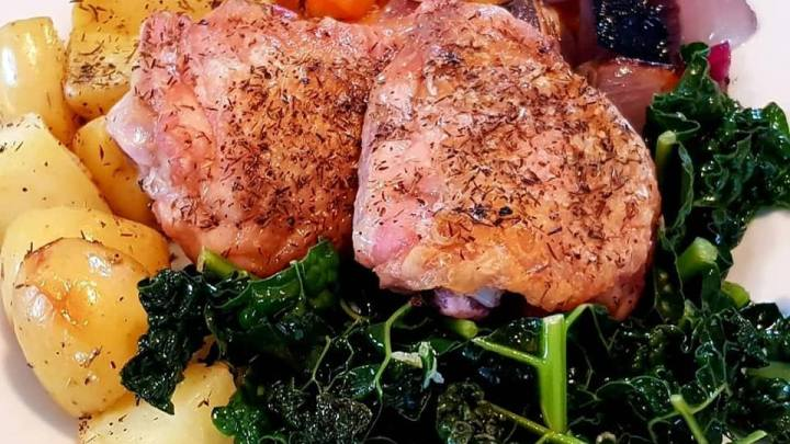 Thyme Roasted Chicken with Braised Veggies and Garlicky Cavolo Nero