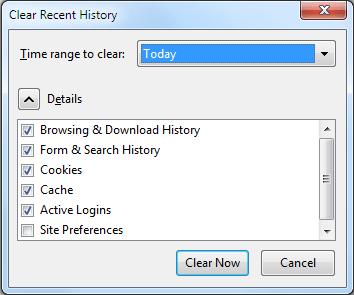 Eliminare storia- Mozilla