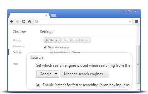 Gestire motore di ricerca Chrome