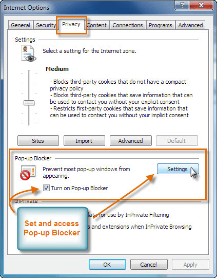 Blocco popup di Internet Explorer