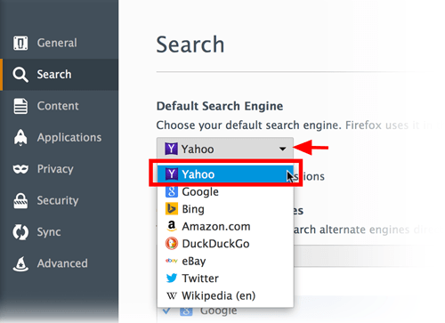 motore di ricerca di Mozilla