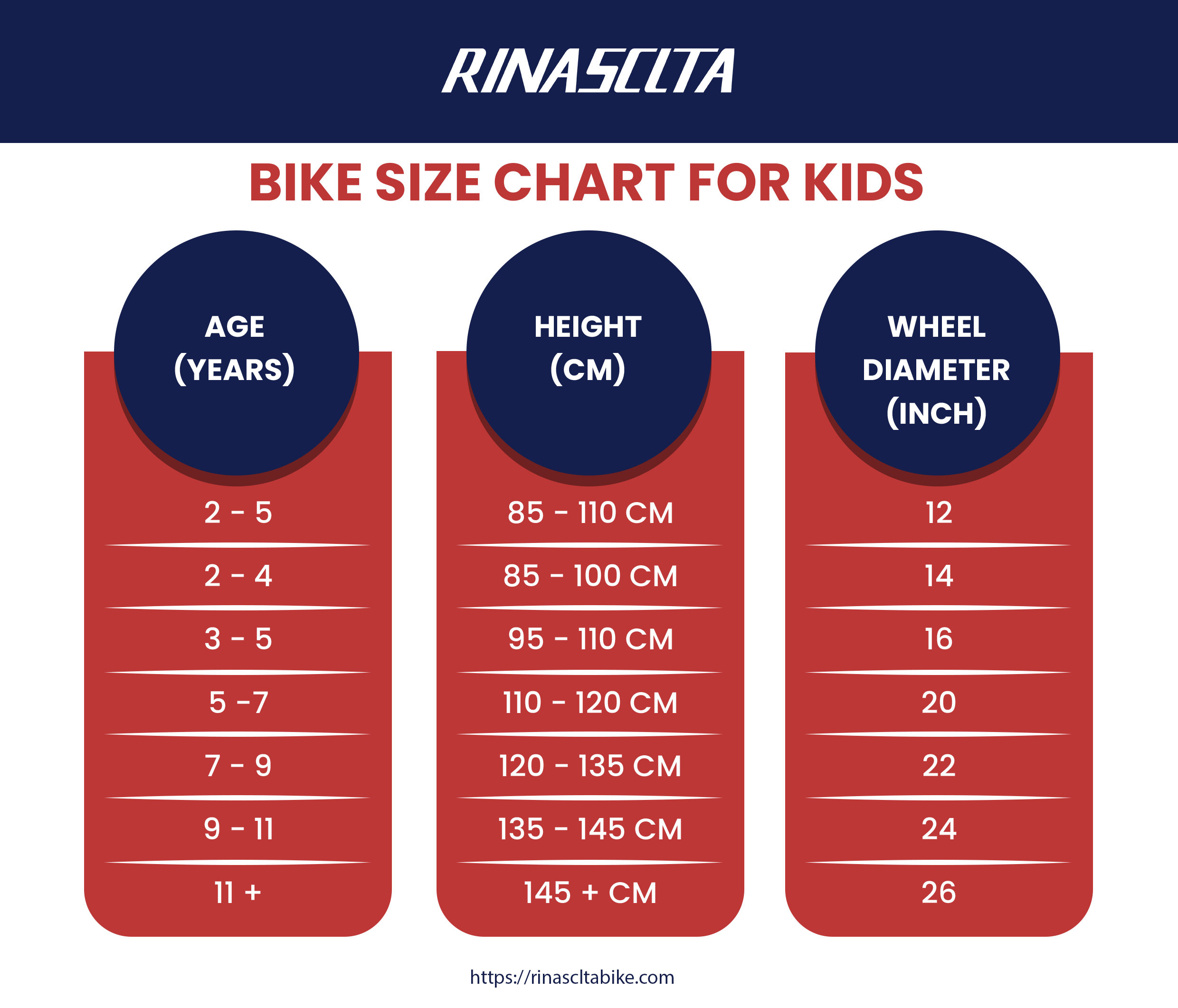 bike size chart for kid