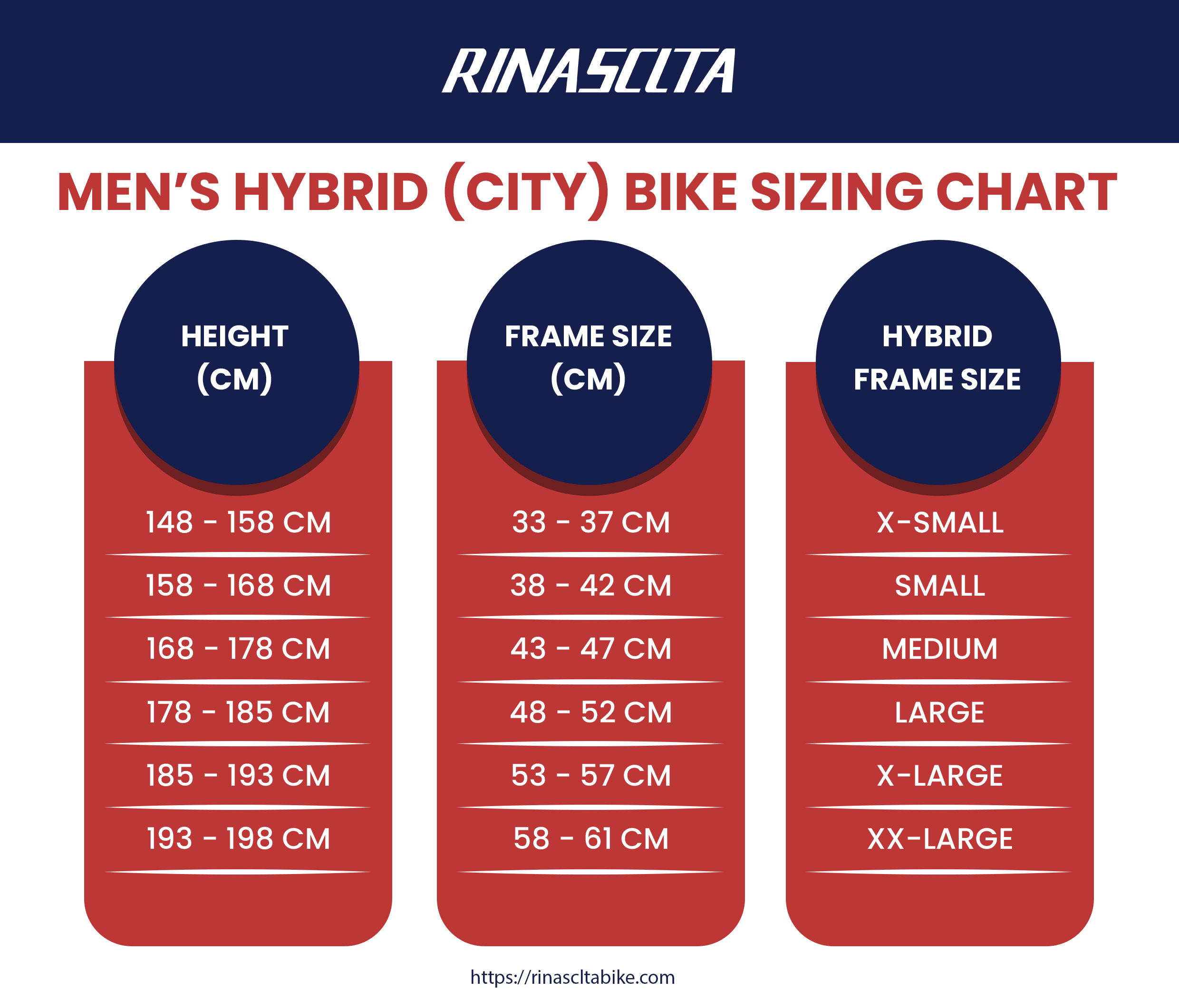 men's hybrid (city) bike sizing chart