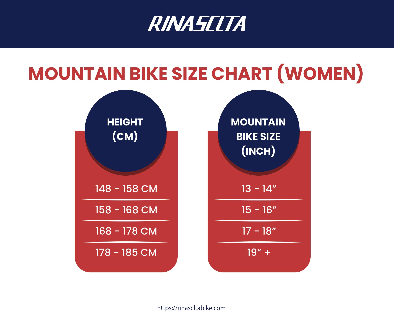 women's mountain bike size chart