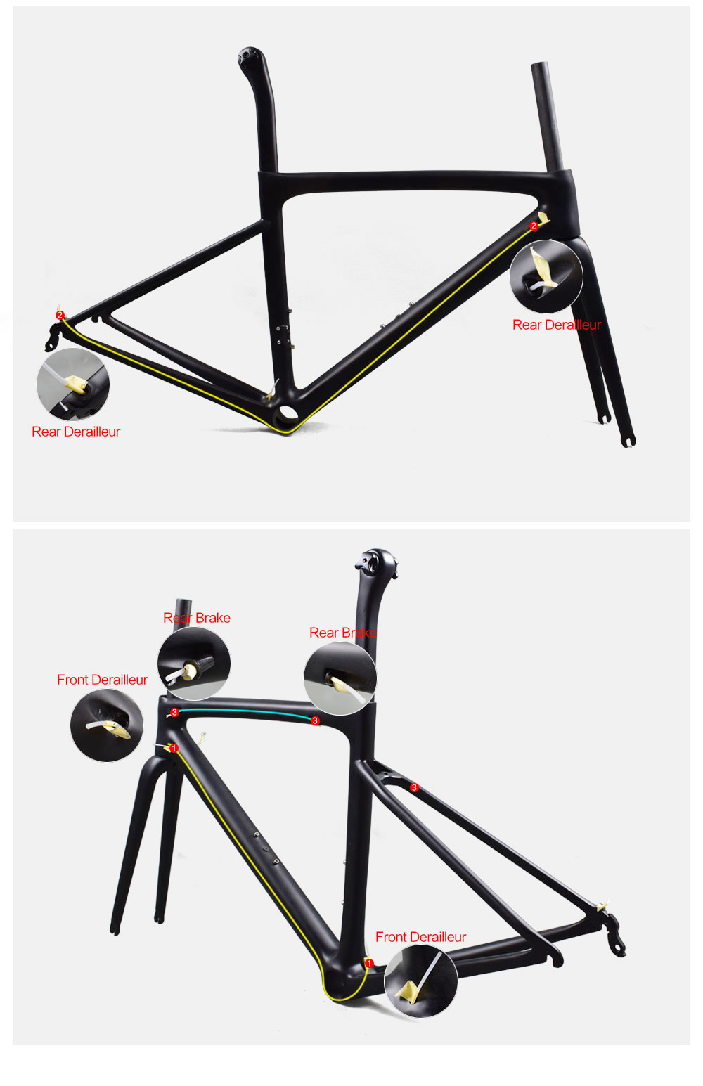Rinasclta 2019 lightweight carbon road frame cable route guide