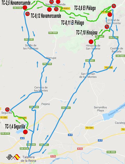 mapa tramos rallye talavera 2018