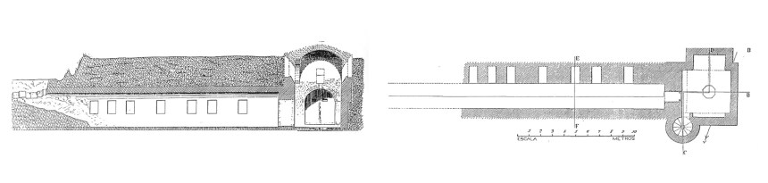 Planta y alzado del criptopórtico de las Gabias según Juan Cabré Aguiló, 1922