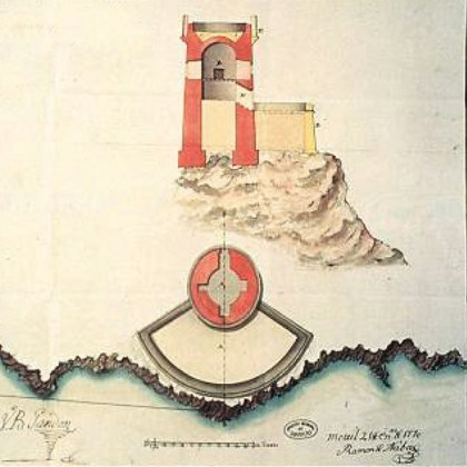Planta y alzado de la Torre del Zambullón, con el parapeto que se le proyecta en 1770 para que pudiese albergar artillería. (Archivo General de Simancas)