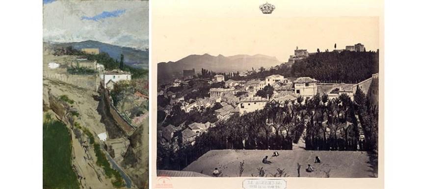 """""""Paisaje de Granada"""" - Fortuny (Izquierda) Foto de Chales Clifford (derecha)"""