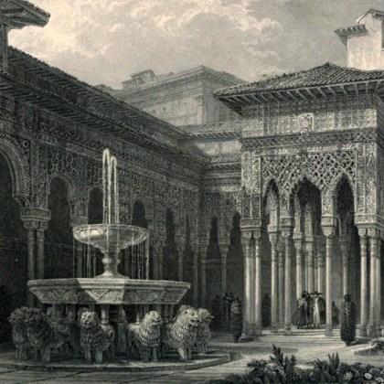 Grabado - Patio de los Leones - 1835- David Roberts