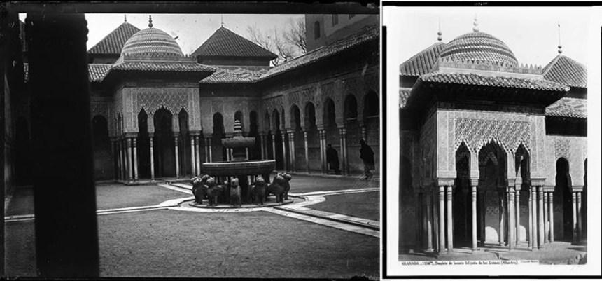 Patio de los leones - Foto: Ayuntamiento de Vitoria Gasteiz (izquierda) - y de J. Laurent (Derecha)