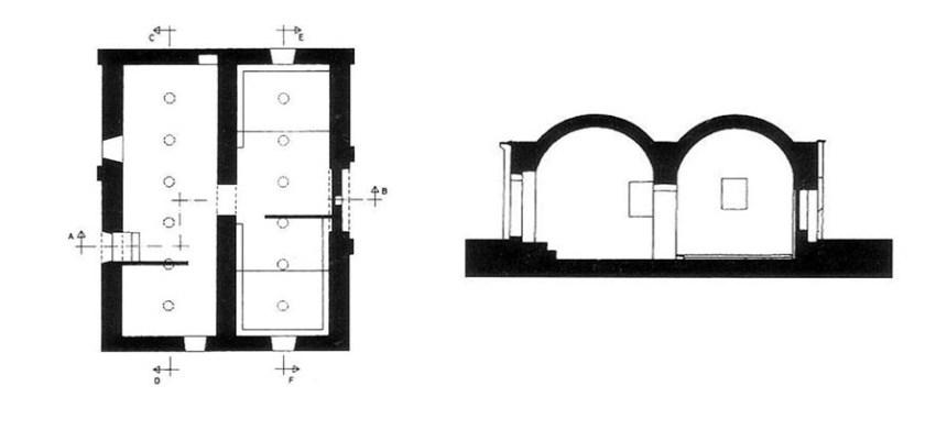 Planta y sección de los baños árabes de la Zubia (Mariano Martín García)