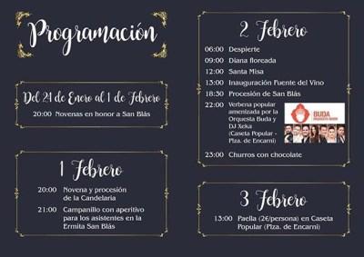 Programa de fiestas de San Blas - Cádiar- 2019