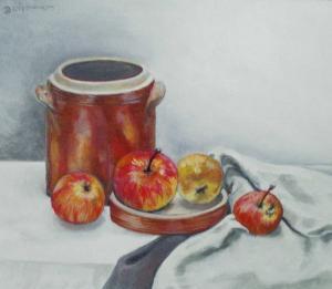 stillevens Pot met 4 appels