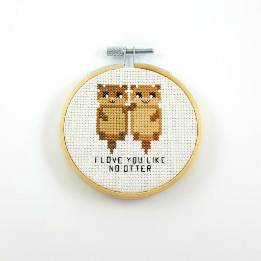 I love you like no otter cross stitch pdf pattern
