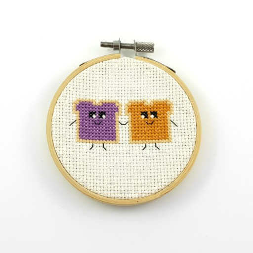 Peanut butter and jelly cross stitch pdf pattern