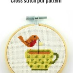Robin on a teacup cross stitch pdf pattern