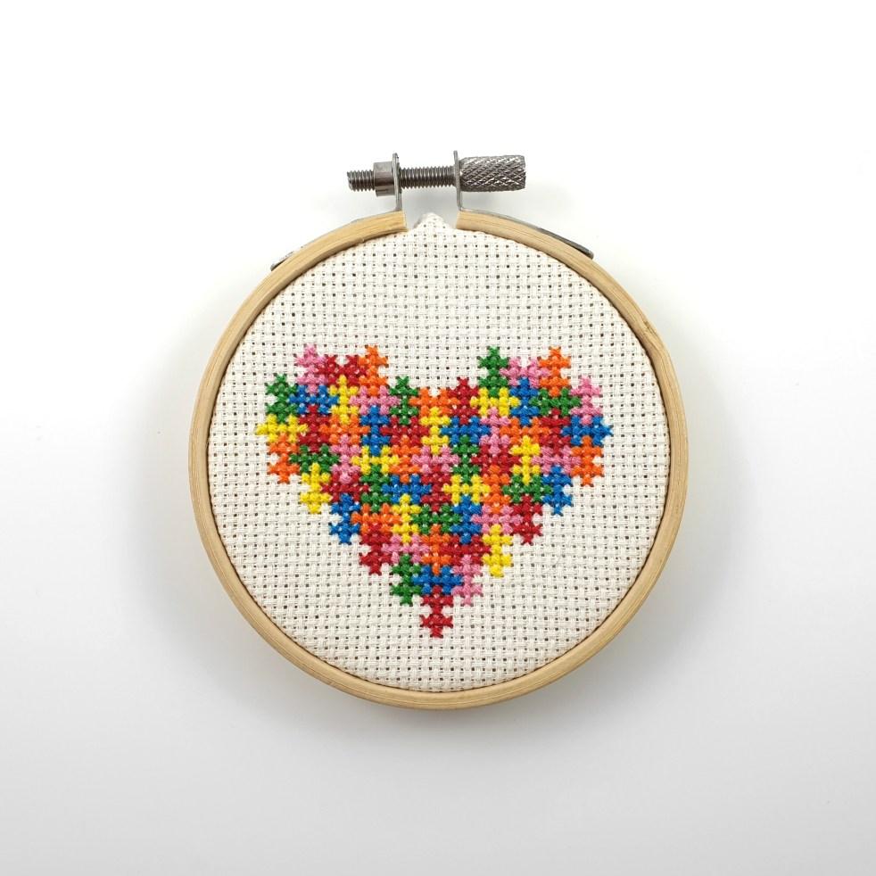 puzzle heart cross stitch pdf pattern