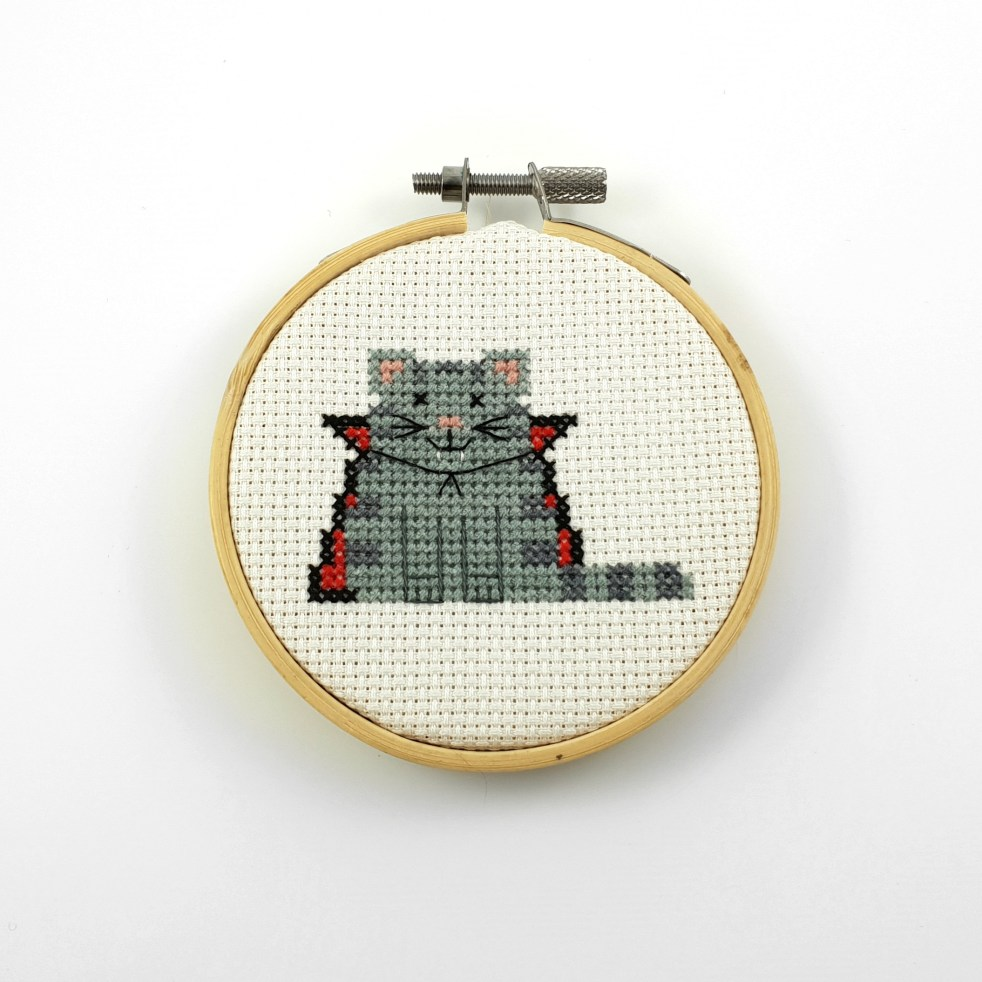 Dracula cat cross stitch pdf pattern