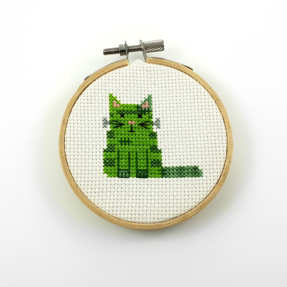 Frankenstein cat cross stitch pdf pattern