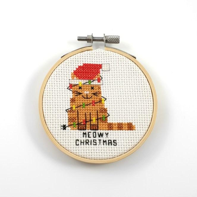 Meowy christams cross stitch pdf pattern
