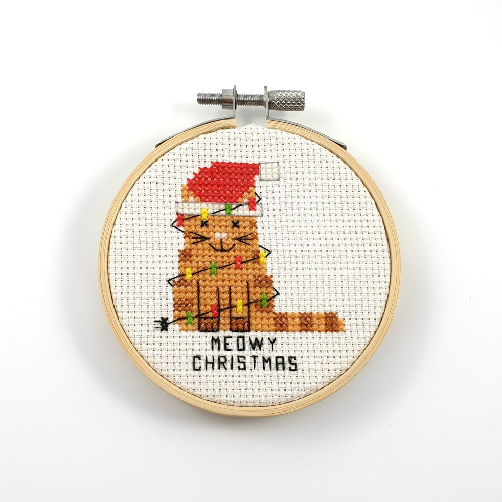 Meowy christmas cross stitch pdf pattern