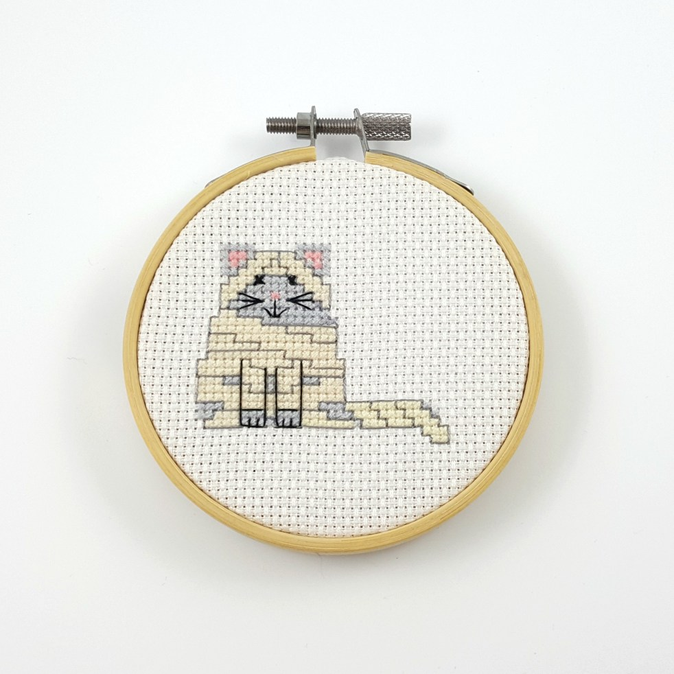 Mummy cat cross stitch pdf pattern