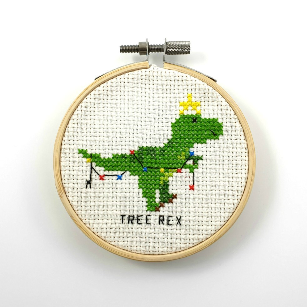 Tree rex cross stitch pdf pattern