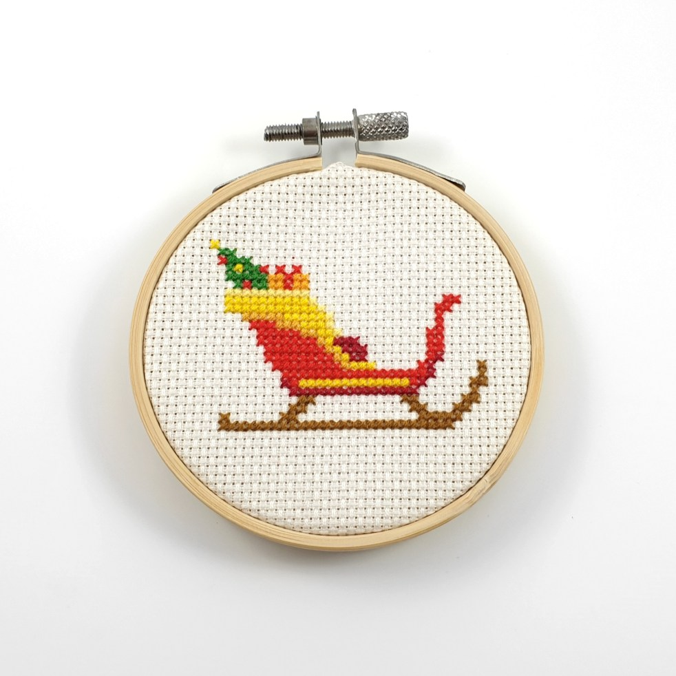 Christmas sled cross stitch pdf pattern