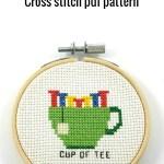 Cup of tee cross stitch pdf pattern