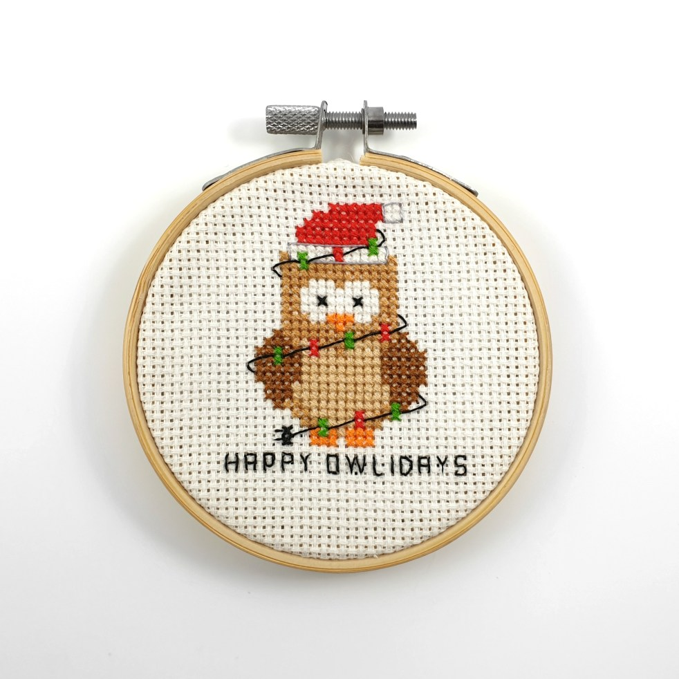 Happy Owlidays cross stitch pdf pattern