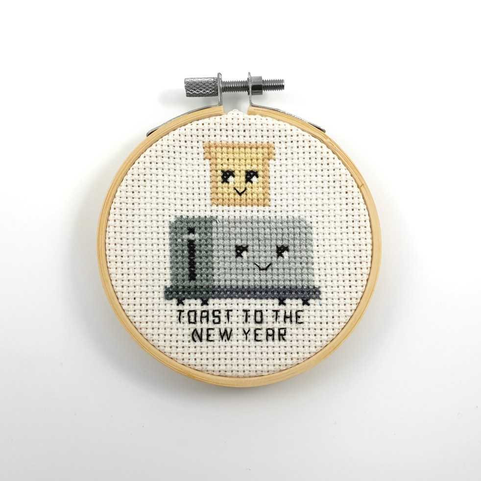 toast to the new year cross stitch pdf pattern