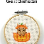 cat in pumpkin cross stitch pdf pattern