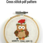 Happy owlidays cross stitch pdf pattern