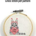 Love you cat cross stitch pdf pattern