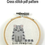 Stay pawsitive cross stitch pdf pattern