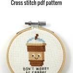 Don't worry be frappe cross stitch pdf pattern