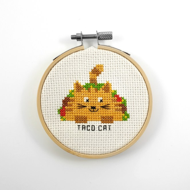 Taco cat cross stitch pdf pattern