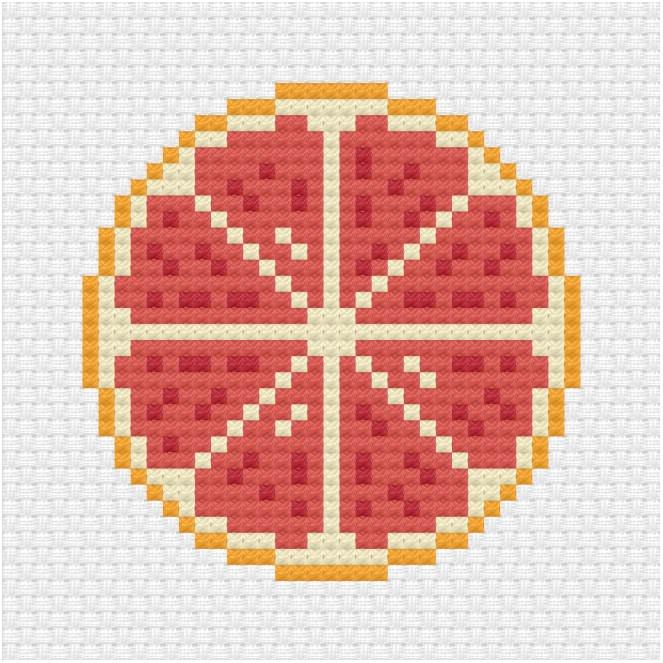 Grapefruit cross stitch pattern