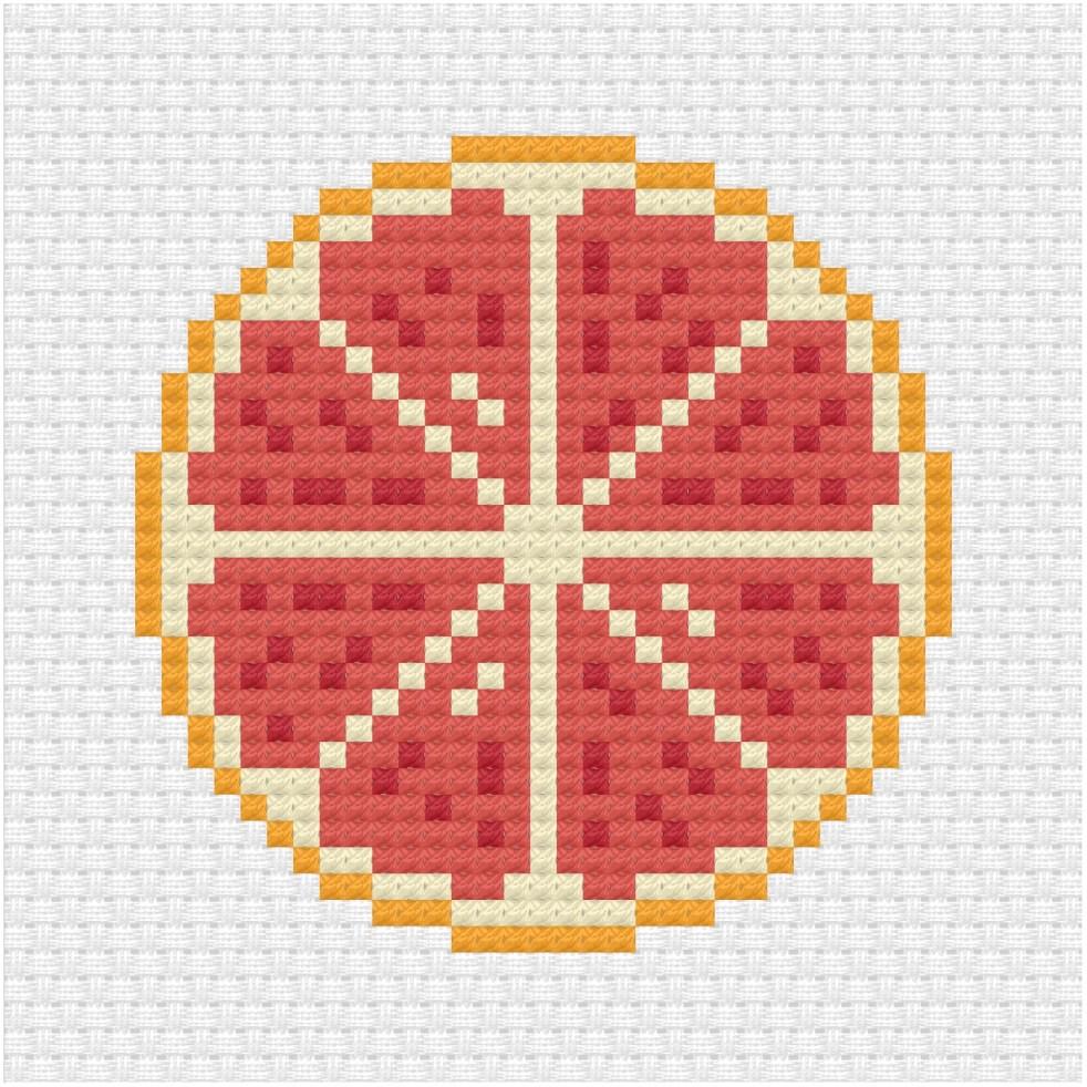 Grapefruit cross stitch pdf pattern