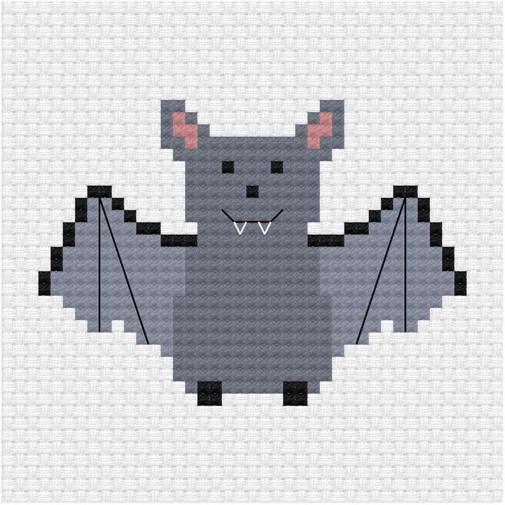 Bat cross stitch pdf pattern