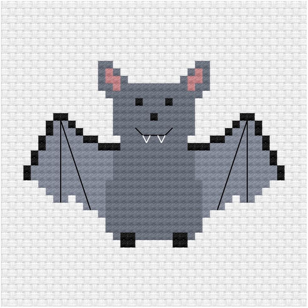 Bat cross stitch pdf pattern